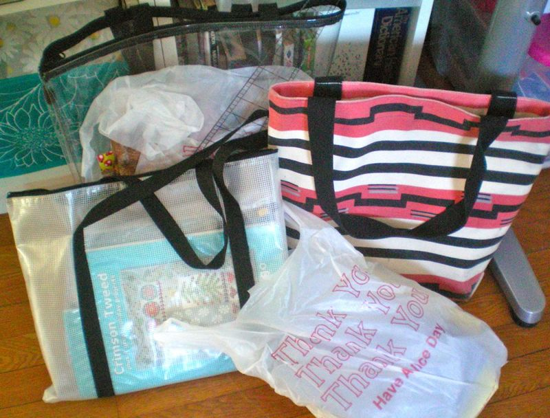 The striped bag is the one I use daily. The others are those I took to quilt guild and a quilting class yesterday (March 5). The plastic bag holds some new fabrics....