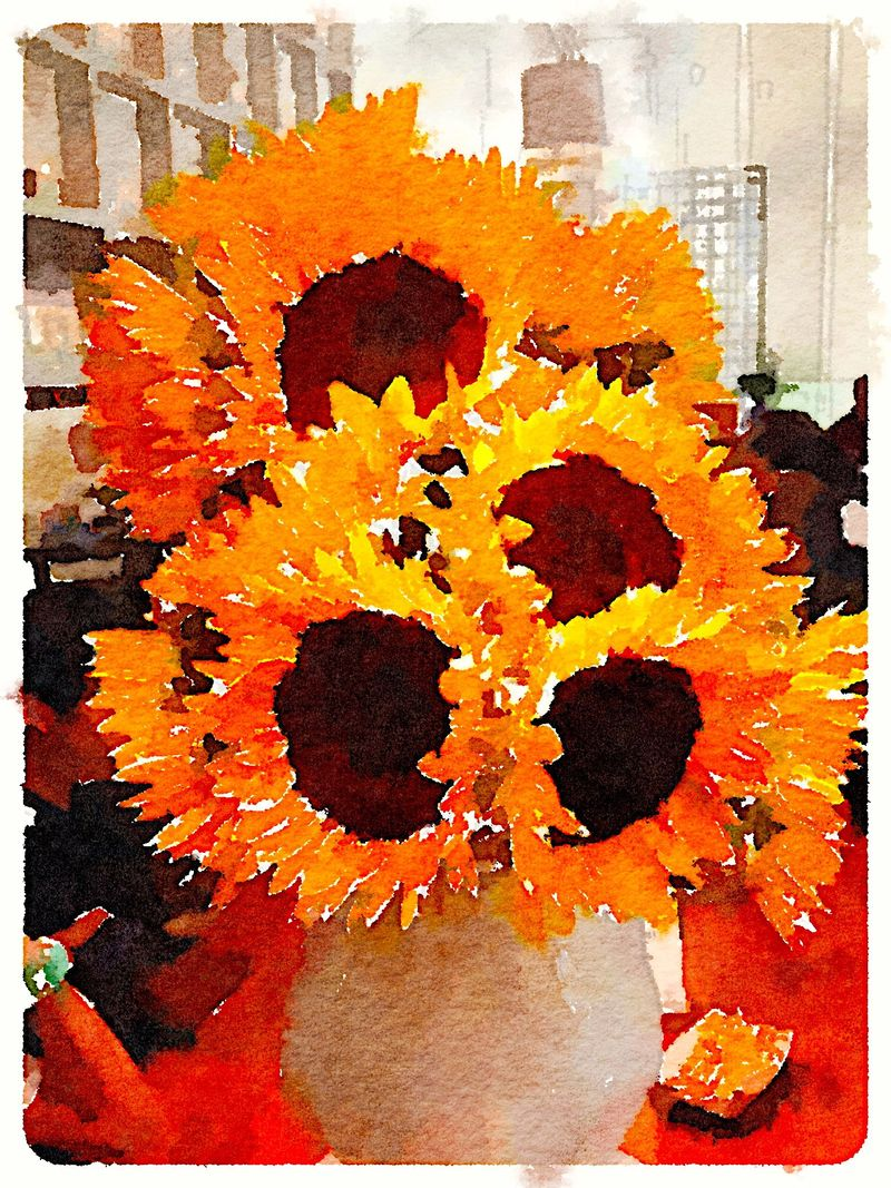 Painted in Waterlogue - SunFlowers