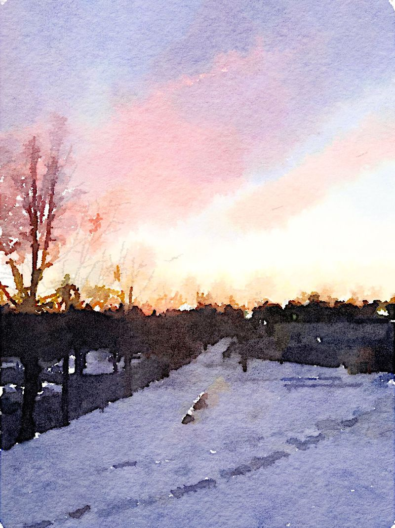 Painted in Waterlogue - winter sunset