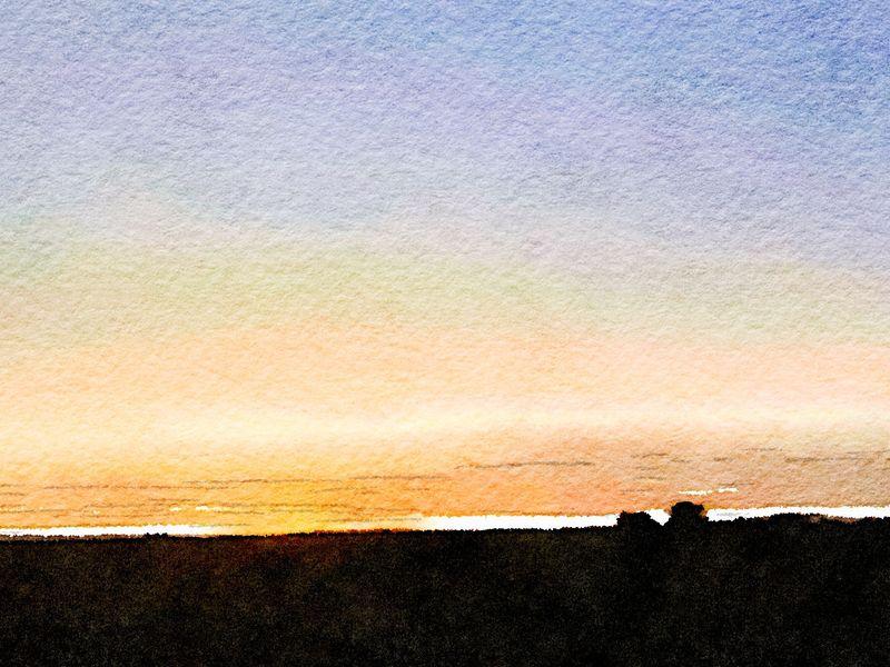 Painted in Waterlogue-Portland Sunrise