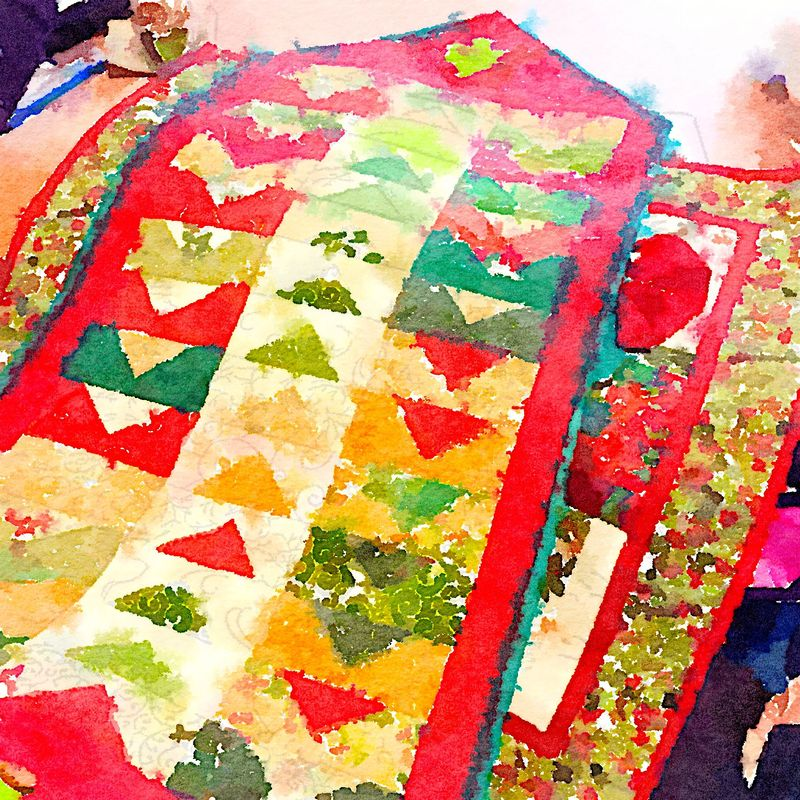 Painted in Waterlogue - Christmas Table Runner