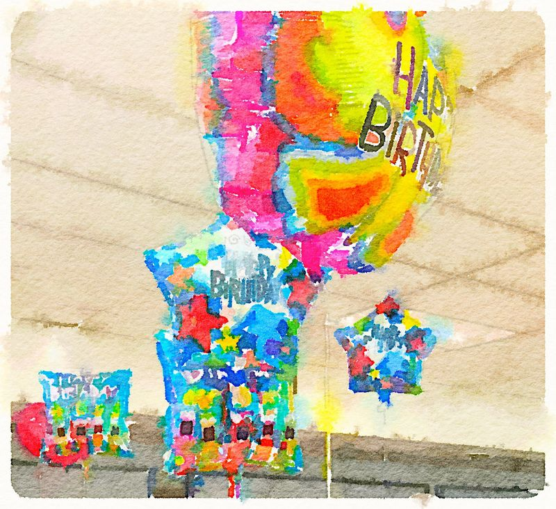 Painted in Waterlogue -balloons