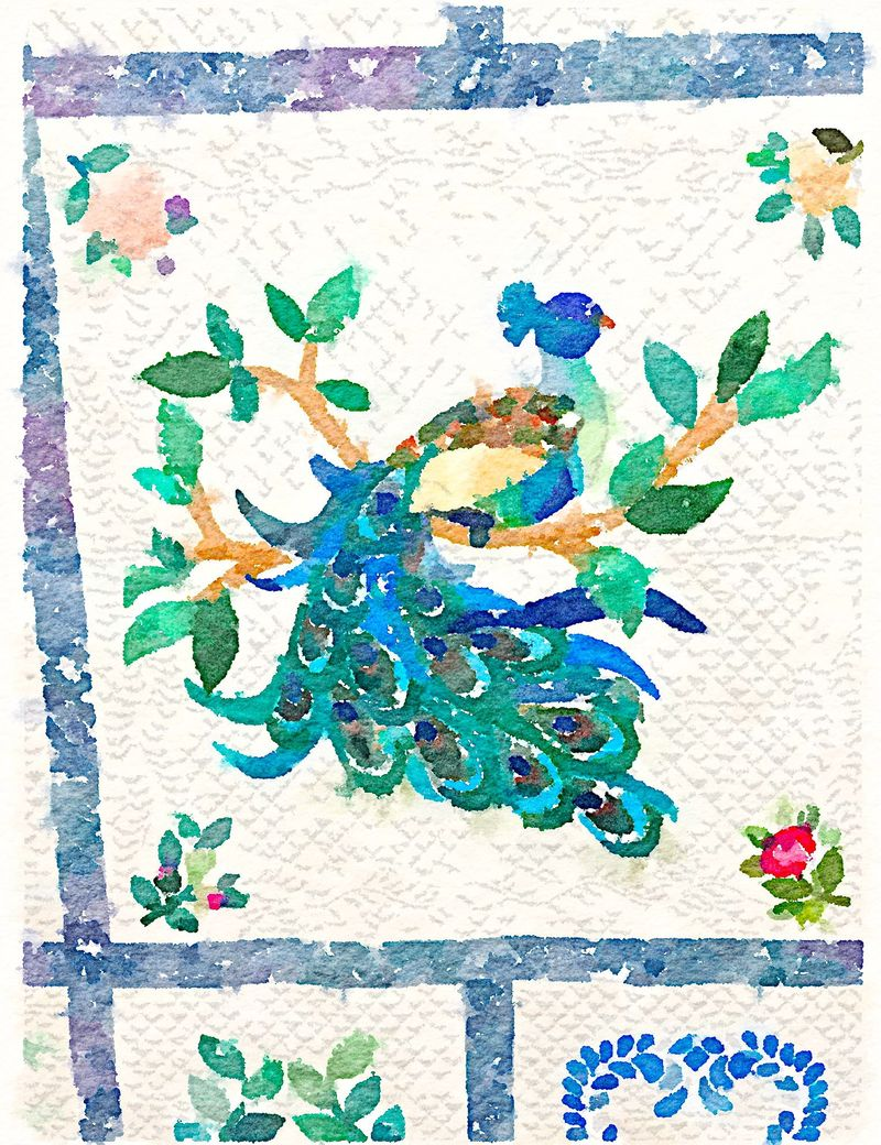 Painted in Waterlogue-Peacock